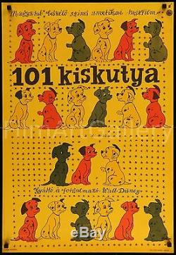 101 DALMATIANS 1964 Walt Disney rare 22x32 Hungarian poster Film/Art Gallery