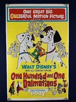 101 DALMATIANS on LINEN Orig Movie Poster One Sheet 1961 WALT DISNEY Cartoon