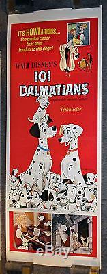 101 DALMATIANS original 1960's Disney rolled 14x36 insert movie poster