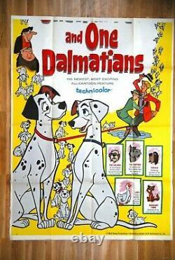 101 Dalmatians Walt Disney 1961 Rare USA 3sh Movie Poster Not Complete