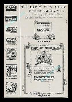 1938 Snow White and the Seven Dwarfs WALT DISNEY Campaign Book With Herald
