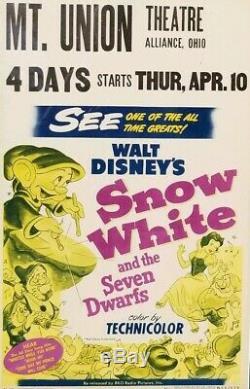 1951 Disney SNOW WHITE Window Movie Theater 14x21 POSTER 50s ART vtg Frame