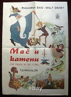 1963 Original Movie Poster Walt Disney The Sword In The Stone White Animation