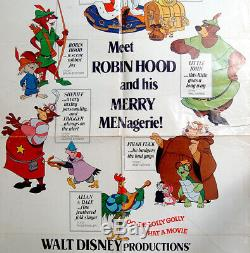 1973 Original OFFICIAL Animated FILM POSTER Movie ROBIN HOOD Disney COMICS