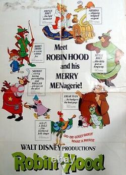 1973 Original OFFICIAL Animated RARE FILM POSTER Movie ROBIN HOOD Disney COMICS