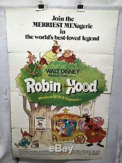 1973 Robin Hood Original 1SH Walt Disney Movie Poster 27 x 41