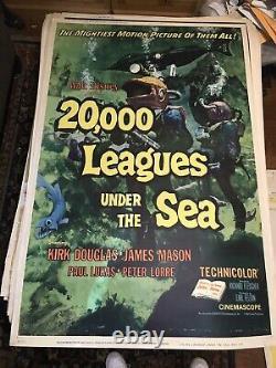 20,000 Leagues Under The Sea Original 40 x 60 Movie Poster Walt Disney