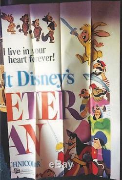 69 Walt Disney's Peter Pan Huge 6 sheet 81 x 81 poster Great Art Disneyland