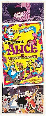 ALICE IN WONDERLAND MOVIE POSTER R1981 INSERT 14x36 Inch DISNEY ANIMATION