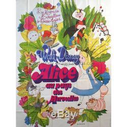 ALICE IN WONDERLAND Original French Billboard Poster R1970 Walt Disney RARE