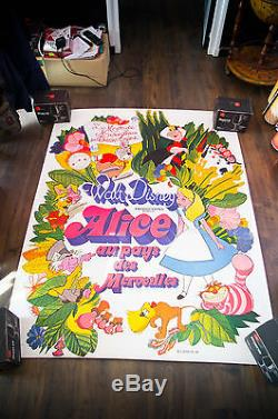 ALICE IN WONDERLAND Walt Disney 4x6 ft Bus Shelter Movie Poster ReRelease 1976