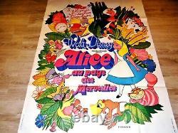 ALICE IN WONDERLAND Walt Disney 4x6 ft French Grand Movie Poster ReRelease 1976
