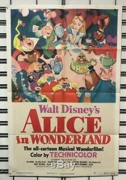 Alice in Wonderland Original One Sheet Poster 1951 Walt Disney Plus