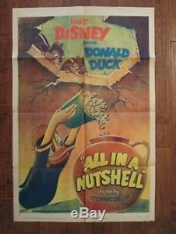 All In A Nutshell Original Donald Duck 1Sheet Movie Poster 1949 Walt Disney