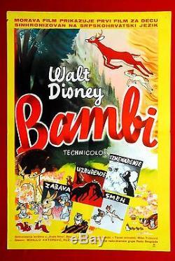 BAMBI WALT DISNEY 1950's RARE EXYU MOVIE POSTER