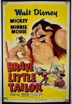 BRAVE LITTLE TAILOR Movie Poster (Fine) One Sheet'50RR WALT DISNEY Mickey Mouse