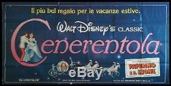 CINDERELLA Original Movie Poster 55x117 Billboard Italian WALT DISNEY VERY RARE