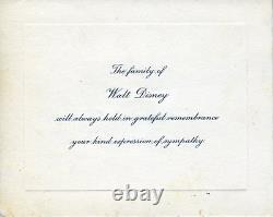 Card Expressing Thanks for Condolences on Walt DISNEY'S Death