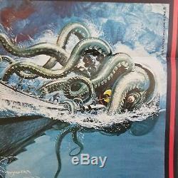 DISNEY'S 20,000 LEAGUES UNDER THE SEA GERMAN POSTER w SQUID 8 FOLD 33x24 1971 EX