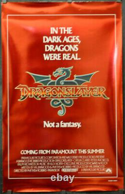 DRAGONSLAYER 1981 ORIG 26X41 RED STYLE FOIL MOVIE POSTER DISNEY PETER MacNICOLE