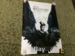 Disney Maleficent DS Movie Poster 27x40 CAST SIGNED autograph Angelina Jolie
