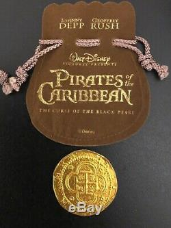 Disney Pirates Of The Caribbean Black Pearl Movie Prop Coins Lot Of 3 COA Pouch