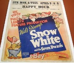 Disney's SNOW WHITE & THE SEVEN DWARFS Rare 1938 JUMBO WINDOW CARD Movie Poster