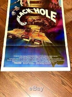 Disney's THE BLACK HOLE 1979 Rare Full Color 1 Sheet Tri Fold Orig Movie Poster