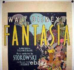 FANTASIA Walt Disney ANIMATION Linen Backed RARE AUSTRALIAN ONE SHEET 1940