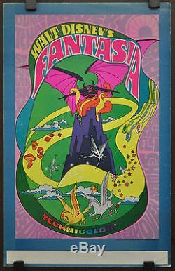 Fantasia R/1970 Orig. 14x22 Window Card Movie Poster Mickey Mouse Walt Disney