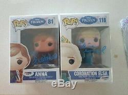 IDINA MENZEL (Elsa) & KRISTEN BELL (Anna) Signed DISNEY FROZEN Funko Pop PSA COA