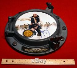 JOHNNY DEPP Signed PIRATES OF CARIBBEAN, DISNEY PROP Coin, Porthole COA DVD UACC