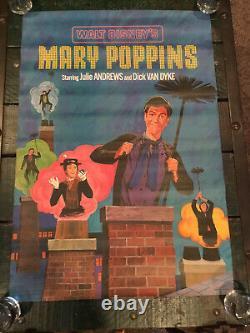 MARY POPPINS set of 2 posters JULIE ANDREWS WALT DISNEY rare 1964 SHASTA BEV