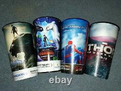 Marcus Cinema Movie Theater Large Hard Plastic Collector's Cups Marvel, Disney