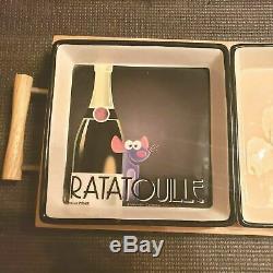 NEW W TAG Disney Pixar Movie Memorabilia Ratatouille Wooden Tray 3 Tidbit Bowls