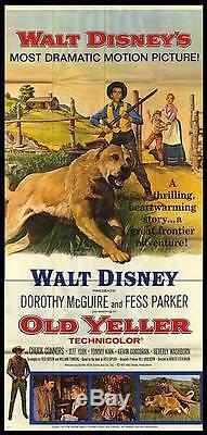 OLD YELLER original large DISNEY 3-sheet movie poster TOMMY KIRK/FESS PARKER