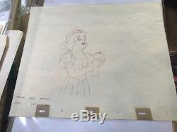 ORIGINAL Disney SNOW WHITE Drawing Actually used in the 1937 Film-Scene #'s, etc