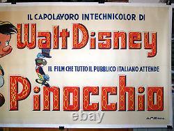 Original italian movie poster PINOCCHIO Walt Disney masterpiece RARE