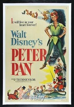 PETER PAN CineMasterpieces 1953 WALT DISNEY VINTAGE ORIGINAL RARE MOVIE POSTER