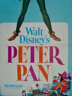PETER PAN US insert movie poster 14x36 R69 WALT DISNEY
