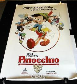 PINOCCHIO Original Movie Poster 1984 Re-Release Walt Disney 40 x 60 Near Mint