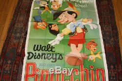 PINOCCHIO movie poster original LARGE 3 sheet DISNEY 41 x 84 1962 Sharp Color