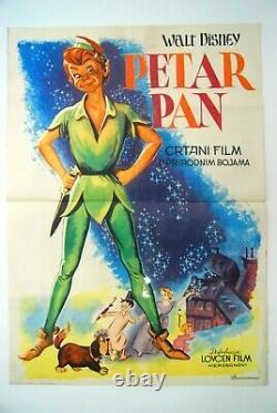 Peter Pan Walt Disney 1955 Rare Vintage Exyugo Movie Poster