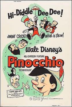 Pinocchio R-1962 40 X 60 Silk Screen Movie Poster Rolled Unfolded Walt Disney