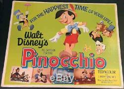 Pinocchio! R'62 Walt Disney Classic Rare Original 1/2-sheet Poster