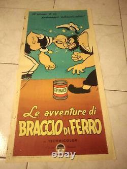 Popeye Rare 1950 Italy Locandina Poster Insert No Walt Disney
