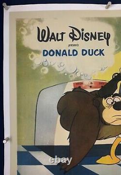 RUGGED BEAR One Sheet Movie Poster 1953 Walt Disney Donald Duck on LINEN