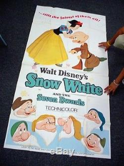 Rare Walt Disney SNOW WHITE 3 SHEET MOVIE POSTER Buena Vista 1967 US RE RELEASE