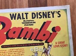 SALE! BAMBI 1942 WALT DISNEY Original Title Card-Rare Artwork/11X14 Inches-SEE