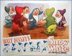SNOW WHITE Lobby Card Original 1943 Release of this Walt Disney Classic Dwarfs